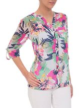 Anna Rose Floral Chiffon Blouse Jungle - Gallery Image 2