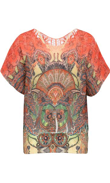 Embellished Short Sleeve Printed Top Orange/Red/Yellow