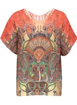 Embellished Short Sleeve Printed Top Orange/Red/Yellow - Gallery Image 1