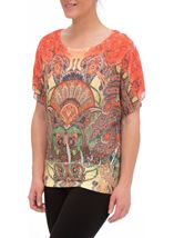 Embellished Short Sleeve Printed Top Orange/Red/Yellow - Gallery Image 2
