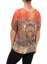 Embellished Short Sleeve Printed Top Orange/Red/Yellow - Gallery Image 3