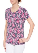 Anna Rose Floral Textured Short Sleeve Jersey Top Navy/Bubblegum - Gallery Image 2