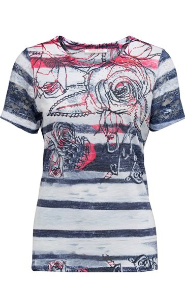 Anna Rose Embellished Print Jersey Top Navy/Bubblegum
