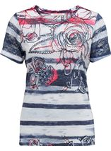 Anna Rose Embellished Print Jersey Top Navy/Bubblegum - Gallery Image 1