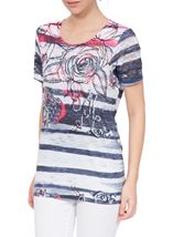Anna Rose Embellished Print Jersey Top Navy/Bubblegum - Gallery Image 2