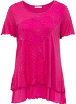 Anna Rose Layered Lace Trim Top Bubblegum - Gallery Image 1