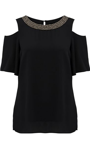 Embellished Cold Shoulder Top Black