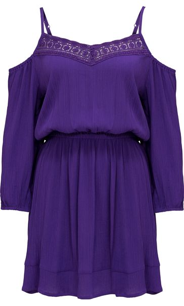 Cold Shoulder Lace Trim Tunic Purple