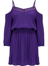 Cold Shoulder Lace Trim Tunic Purple - Gallery Image 1
