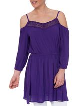 Cold Shoulder Lace Trim Tunic Purple - Gallery Image 2