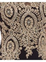 Embellished Sleeveless Maxi Dress Black/Gold - Gallery Image 4