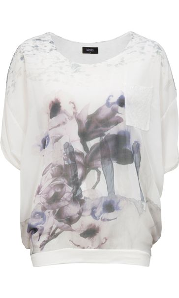 Floral Watercolour Printed Round Neck Top Ivory/Purple