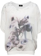 Floral Watercolour Printed Round Neck Top Ivory/Purple - Gallery Image 1