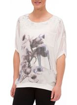 Floral Watercolour Printed Round Neck Top Ivory/Purple - Gallery Image 2