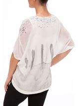 Floral Watercolour Printed Round Neck Top Ivory/Purple - Gallery Image 3