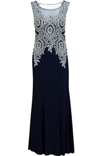 Embellished Sleeveless Statement Maxi Dress - Blue