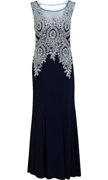Embellished Sleeveless Maxi Dress Midnight/Silver