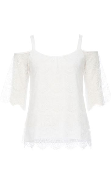 Cold Shoulder Lace Top Ivory