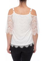 Cold Shoulder Lace Top Ivory - Gallery Image 3