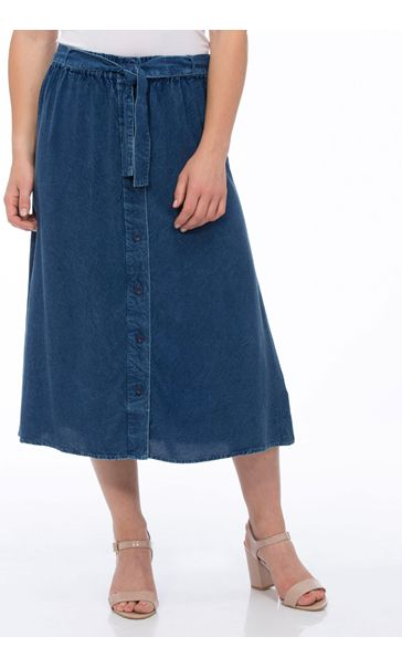 Anna Rose Washed Button Through Skirt Navy