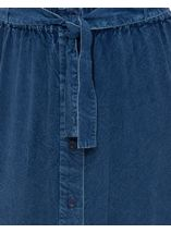 Anna Rose Washed Button Through Skirt Navy - Gallery Image 3