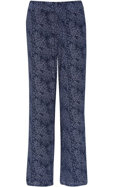 Anna Rose Floral Print Trousers Navy/White