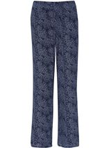 Anna Rose Floral Print Trousers Navy/White - Gallery Image 1