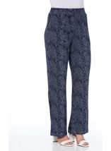 Anna Rose Floral Print Trousers Navy/White - Gallery Image 2