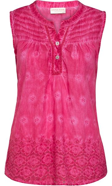 Anna Rose Sleeveless Embroidered Cotton Top Bubblegum