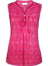 Anna Rose Sleeveless Embroidered Cotton Top Bubblegum - Gallery Image 1