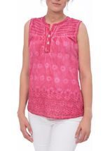 Anna Rose Sleeveless Embroidered Cotton Top Bubblegum - Gallery Image 2