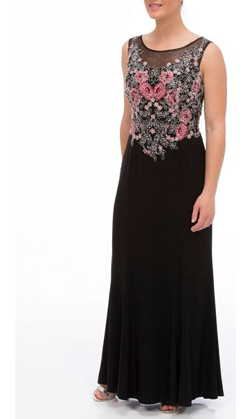 Embroidered Floral Luxury Maxi Dress Black/Pink