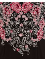 Embroidered Floral Luxury Maxi Dress Black/Pink - Gallery Image 3