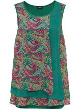 Sleeveless Layered Chiffon And Jersey Top Sage/Pink - Gallery Image 1