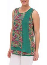 Sleeveless Layered Chiffon And Jersey Top Sage/Pink - Gallery Image 2