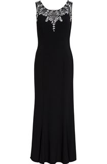 Embellished Sleeveless Luxury Maxi Dress - Black