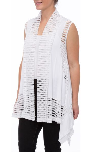 Dipped Hem Panelled Waistcoat White - Gallery Image 1