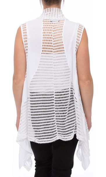 Dipped Hem Panelled Waistcoat White - Gallery Image 2