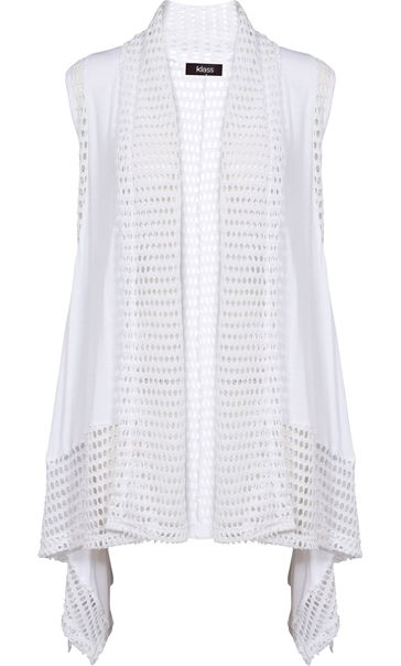 Dipped Hem Panelled Waistcoat White - Gallery Image 4