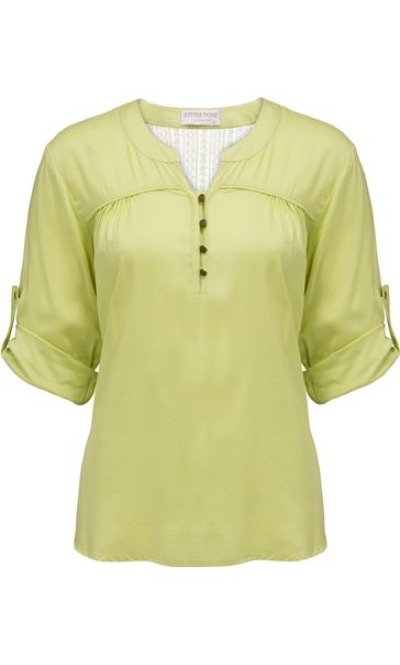 Anna Rose Turn Sleeve Top Lime