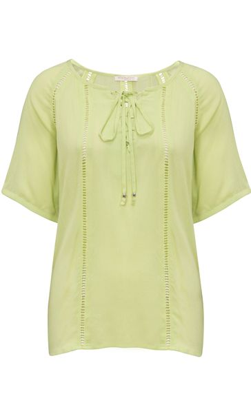 Anna Rose Round Neck Crepe Top Lime
