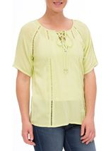 Anna Rose Round Neck Crepe Top Lime - Gallery Image 2
