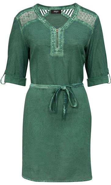 Cold Wash Turn Up Sleeve Cotton Tunic Sage