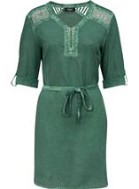 Cold Wash Turn Up Sleeve Cotton Tunic Sage - Gallery Image 1