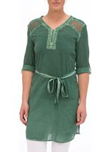 Cold Wash Turn Up Sleeve Cotton Tunic Sage - Gallery Image 2