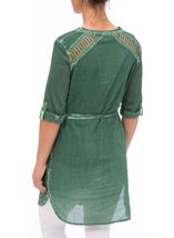 Cold Wash Turn Up Sleeve Cotton Tunic Sage - Gallery Image 3