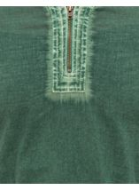 Cold Wash Turn Up Sleeve Cotton Tunic Sage - Gallery Image 4