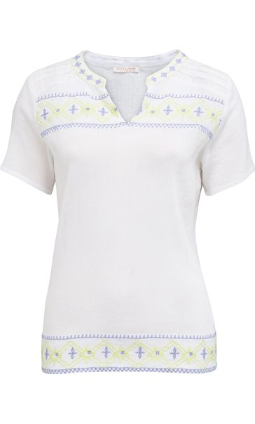 Anna Rose Tribal Embroidered Crinkle Cotton Top