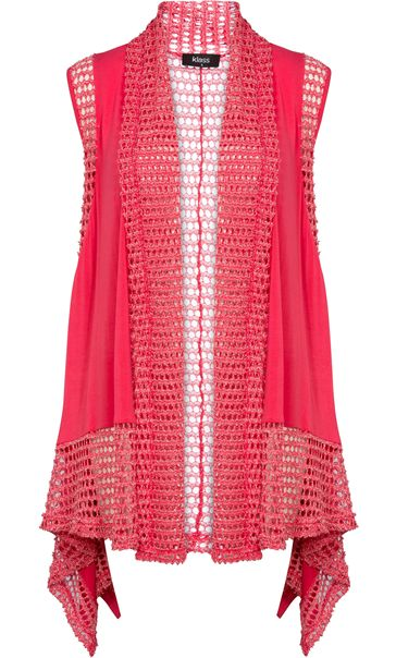 Dipped Hem Panelled Waistcoat Bright Pink