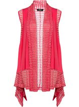 Dipped Hem Panelled Waistcoat Bright Pink - Gallery Image 1